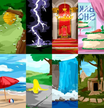 Environment illustrations for use in an interactive presentation for Girls, Inc